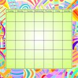 kalendarzowy kolorowy szablon Zdjęcie Stock