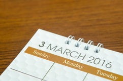 Kalendarzowy Marzec 2016 Obraz Stock