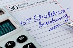 Kalendarzowy nutowy dług Obraz Royalty Free