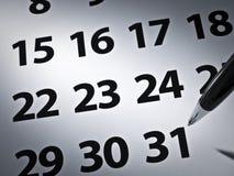 kalendarzowy pióro Fotografia Stock