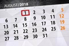 Kalendarzowy planista dla miesiąca, ostatecznego terminu dzień tygodnia, 2018 august 1, Środa Obrazy Royalty Free