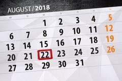 Kalendarzowy planista dla miesiąca, ostatecznego terminu dzień tygodnia, 2018 august, 22, Środa Obraz Stock