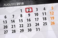Kalendarzowy planista dla miesiąca, ostatecznego terminu dzień tygodnia, 2018 august 2, Czwartek Fotografia Royalty Free