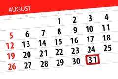 Kalendarzowy planista dla miesiąca, ostatecznego terminu dzień tygodnia, 2018 august, 31, Piątek zdjęcia royalty free