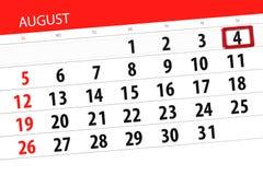Kalendarzowy planista dla miesiąca, ostatecznego terminu dzień tygodnia, 2018 august, 4, Sobota Obraz Stock