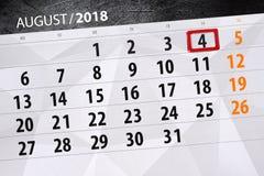 Kalendarzowy planista dla miesiąca, ostatecznego terminu dzień tygodnia, 2018 august, 4, Sobota Zdjęcie Royalty Free