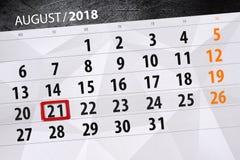Kalendarzowy planista dla miesiąca, ostatecznego terminu dzień tygodnia, 2018 august, 21, Wtorek Fotografia Royalty Free
