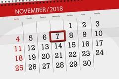 Kalendarzowy planista dla miesiąca, ostatecznego terminu dzień tygodnia 2018 Listopad, 7, Środa obrazy stock