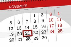 Kalendarzowy planista dla miesiąca, ostatecznego terminu dzień tygodnia 2018 Listopad, 21, Środa obraz stock
