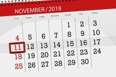 Kalendarzowy planista dla miesiąca, ostatecznego terminu dzień tygodnia 2018 Listopad, 11, Niedziela fotografia stock