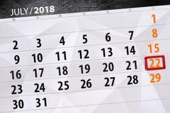 Kalendarzowy planista dla miesiąca, ostatecznego terminu dzień tygodnia, Niedziela 2018 Lipiec 22 Zdjęcie Stock