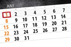 Kalendarzowy planista dla miesiąca, ostatecznego terminu dzień tygodnia, Niedziela, 2018 Lipiec 1 Zdjęcia Stock