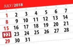 Kalendarzowy planista dla miesiąca, ostatecznego terminu dzień tygodnia, Niedziela, 2018 Lipiec 22 Obrazy Royalty Free