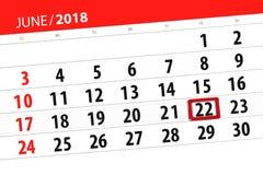 Kalendarzowy planista dla miesiąca, ostatecznego terminu dzień tygodnia, Piątek, 2018 Czerwiec 22 Obrazy Royalty Free