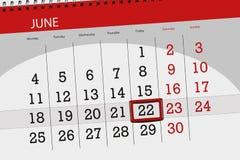 Kalendarzowy planista dla miesiąca, ostatecznego terminu dzień tygodnia, Piątek, 2018 Czerwiec 22 Obraz Royalty Free