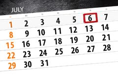 Kalendarzowy planista dla miesiąca, ostatecznego terminu dzień tygodnia, Piątek, 2018 Lipiec 6 Obrazy Royalty Free
