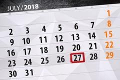 Kalendarzowy planista dla miesiąca, ostatecznego terminu dzień tygodnia, Piątek, 2018 Lipiec 27 Obraz Stock