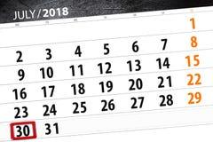 Kalendarzowy planista dla miesiąca, ostatecznego terminu dzień tygodnia, Poniedziałek, 2018 Lipiec 30 Obraz Stock