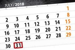 Kalendarzowy planista dla miesiąca, ostatecznego terminu dzień tygodnia, Wtorek, 2018 Lipiec 31 Fotografia Royalty Free