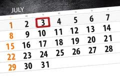 Kalendarzowy planista dla miesiąca, ostatecznego terminu dzień tygodnia, Wtorek, 2018 Lipiec 3 Obraz Stock