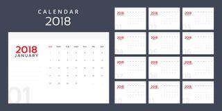 Kalendarzowy planista dla 2018 rok Obraz Stock