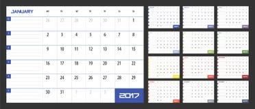 Kalendarzowy planista dla 2017 rok Obrazy Royalty Free