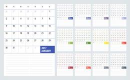 Kalendarzowy planista dla 2017 rok Zdjęcia Stock