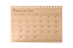 Kalendarzowy planista lub 2018 Luty rozkład przygotowania na białym tle Obrazy Royalty Free
