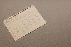 Kalendarzowy planista lub 2018 Luty rozkład przygotowania na rocznika papieru tle Zdjęcie Royalty Free