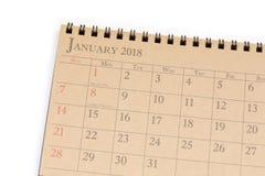Kalendarzowy planista lub 2018 planujemy przygotowania na białym tle Zdjęcia Royalty Free