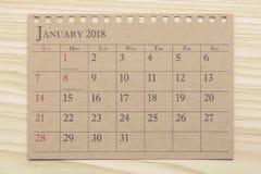 Kalendarzowy planista lub 2018 planujemy przygotowania na drewnianym tle Obraz Royalty Free