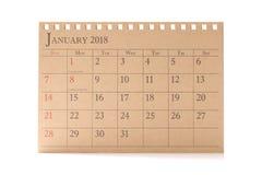 Kalendarzowy planista lub 2018 Stycznia rozkład przygotowania na białym tle Zdjęcie Stock