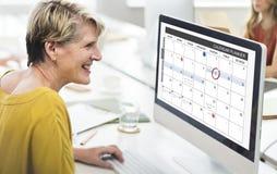 Kalendarzowy planista organizaci zarządzanie Przypomina pojęcie Obrazy Royalty Free