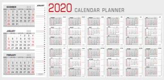 Kalendarzowy planisty szablon 2020 Tygodnia pocz?tek od Niedziela 3 miesiąca na stronie, z sekwensu dobra lampasa kalendarzem top royalty ilustracja