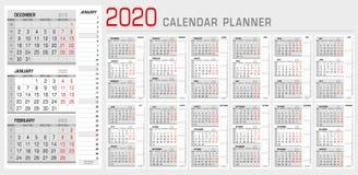 Kalendarzowy planisty szablon 2020 Tygodnia pocz?tek od Poniedzia?ku 3 miesiąca na stronie, z sekwensu dobra lampasa kalendarzem  ilustracji
