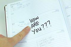 Kalendarzowy powitanie notatki bielu tło Fotografia Stock