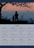 Kalendarzowy projekt 2016 rok połów Zdjęcia Royalty Free