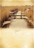 Kalendarzowy retro. Kwiecień. Rocznik wiosny krajobraz. Obraz Royalty Free