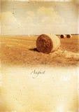 Kalendarzowy retro. Sierpień. Rocznika lata krajobraz. Zdjęcie Stock