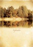 Kalendarzowy retro styl. Wrzesień. Rocznik jesieni krajobraz Obraz Royalty Free