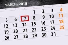 Kalendarzowy strona rok 2018 miesięcy Marzec data 7 Fotografia Royalty Free