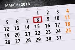 Kalendarzowy strona rok 2018 miesięcy Marzec data 8 Obrazy Royalty Free