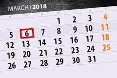 Kalendarzowy strona rok 2018 miesięcy Marzec data 6 Obraz Stock