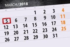 Kalendarzowy strona rok 2018 miesięcy Marzec data 5 Fotografia Stock