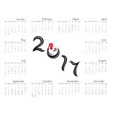 2017 Kalendarzowy szablon Kalendarz dla 2017 rok Zdjęcie Royalty Free