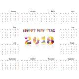 2018 Kalendarzowy szablon Kalendarz dla 2018 rok Wektorowy projekta stat Fotografia Royalty Free