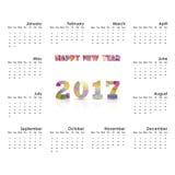 2017 Kalendarzowy szablon Kalendarz dla 2017 rok Wektorowy projekta stat Obraz Stock