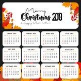 2019 Kalendarzowy szablon Nowego roku bo?enarodzeniowy i Szcz??liwy t?o ilustracja wektor