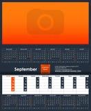 2019 Kalendarzowy szablon septyczny Miejsce dla twój fotografii ilustracja wektor