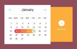 Kalendarzowy UI element Zdjęcia Stock